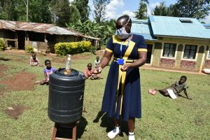 The Water Project:  A Handwashing Station With Reagents For Washing Hands