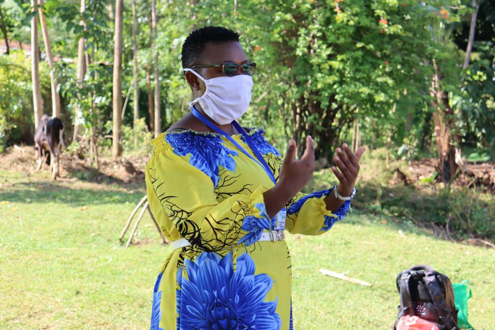 The Water Project : covid19-kenya4420-facilitator-chelegat-conducting-training