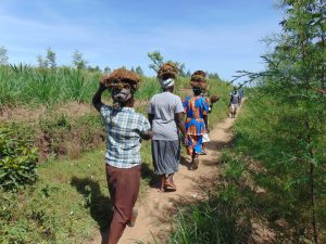 The Water Project:  Community Contribution Women Carrying Grass