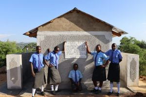 The Water Project:  Girls Posing At The Finished Latrines