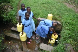 The Water Project:  Students Collecting Water At The Spring