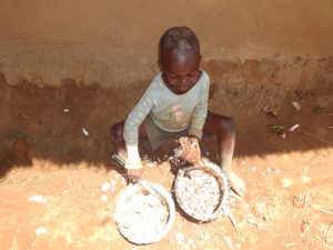 The Water Project:  A Child Helps Prepare Yams To Eat