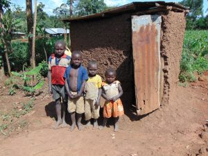 The Water Project:  Kids Lined Up Outside A Latrine