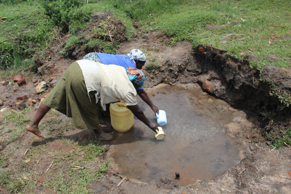The Water Project : kenya20196-collecting-water-at-luyingo-spring-2
