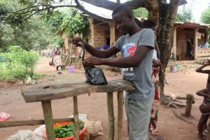 The Water Project:  Grinding Cassava Leaves