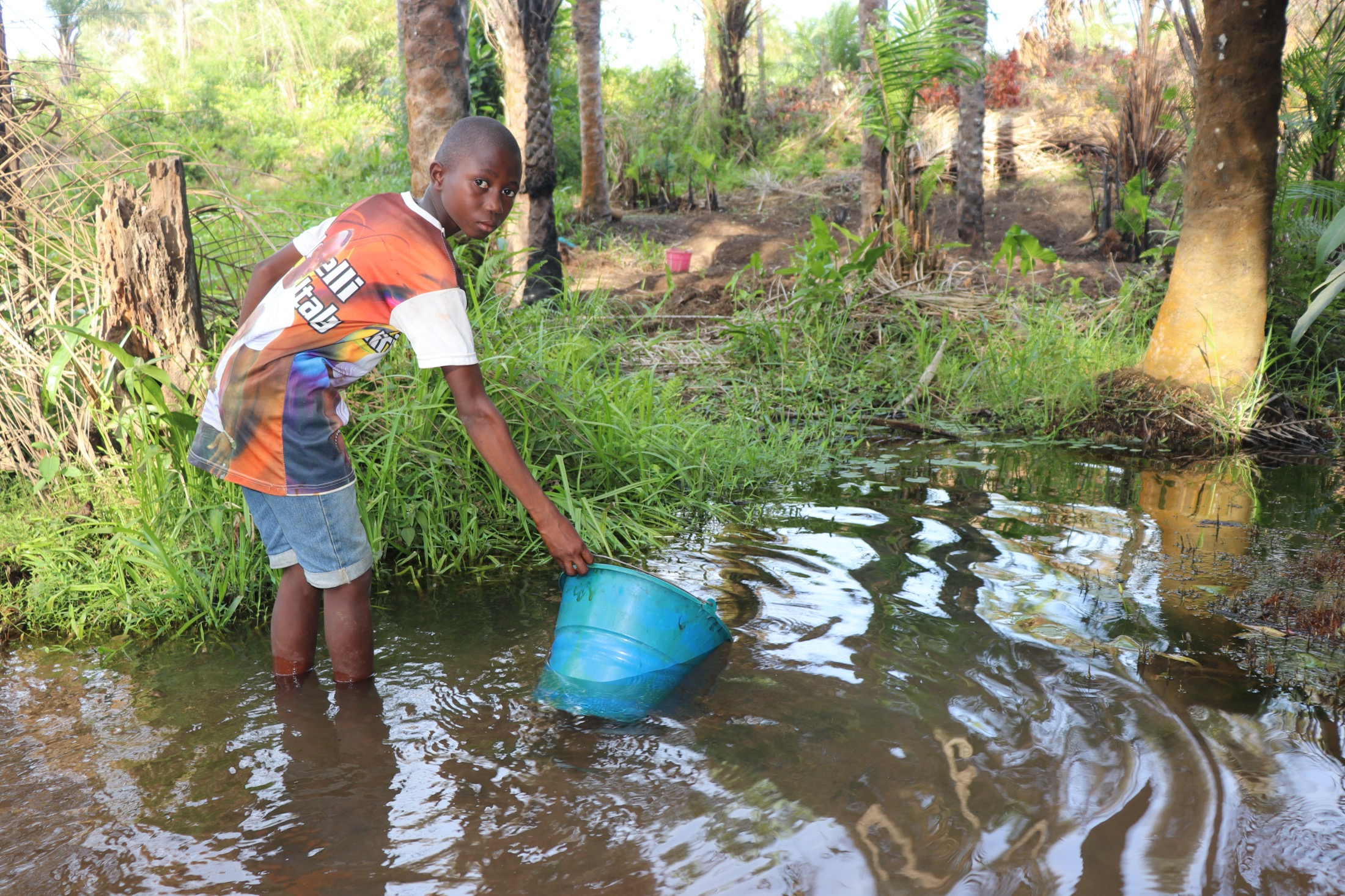 The Water Project : sierraleone20439-small-boy-collecting-water-2