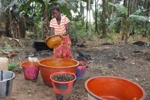 The Water Project:  Woman Processing Palm Oil