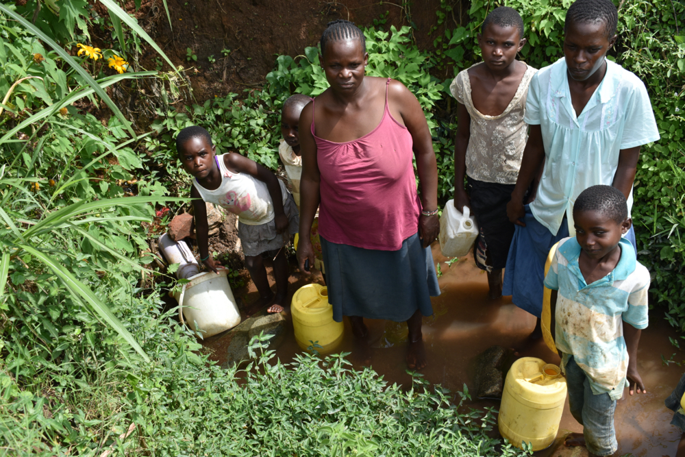 The Water Project : kenya20012-collecting-water-from-namukuru-spring-1