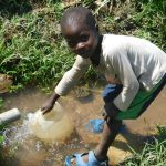 The Water Project: Mabanga Community, Ashuma Spring -  Collecting Water From Ashuma Spring