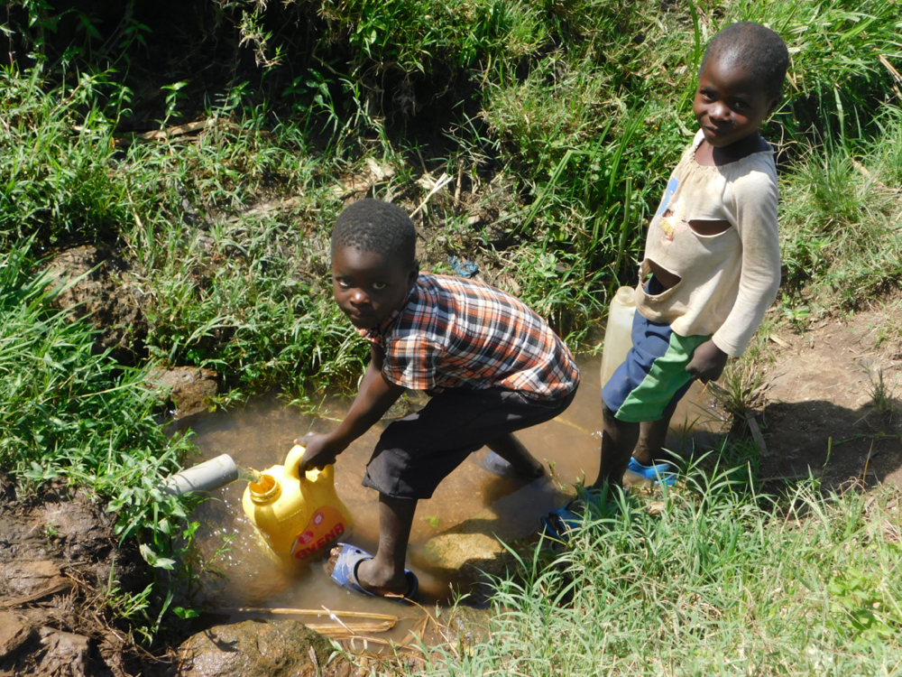 The Water Project : kenya20031-collecting-water-from-ashuma-spring-4-2