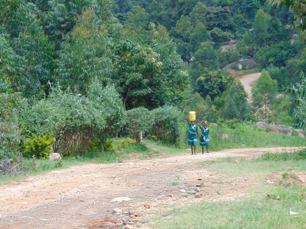 The Water Project : kenya20156-students-carrying-water-to-school-2