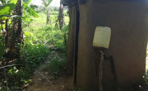 The Water Project:  Handwashing Station Outside Latrine