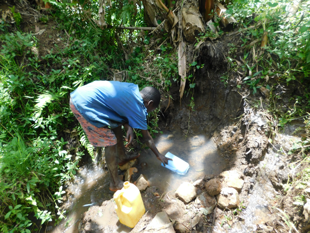 The Water Project : kenya20033-collecting-water-from-mbayi-spring-1