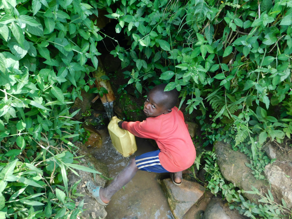 The Water Project : kenya20024-collecting-water-from-olando-spring-1