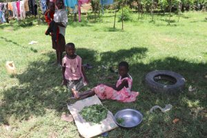 The Water Project:  Girls Preparing Greens For Cooking