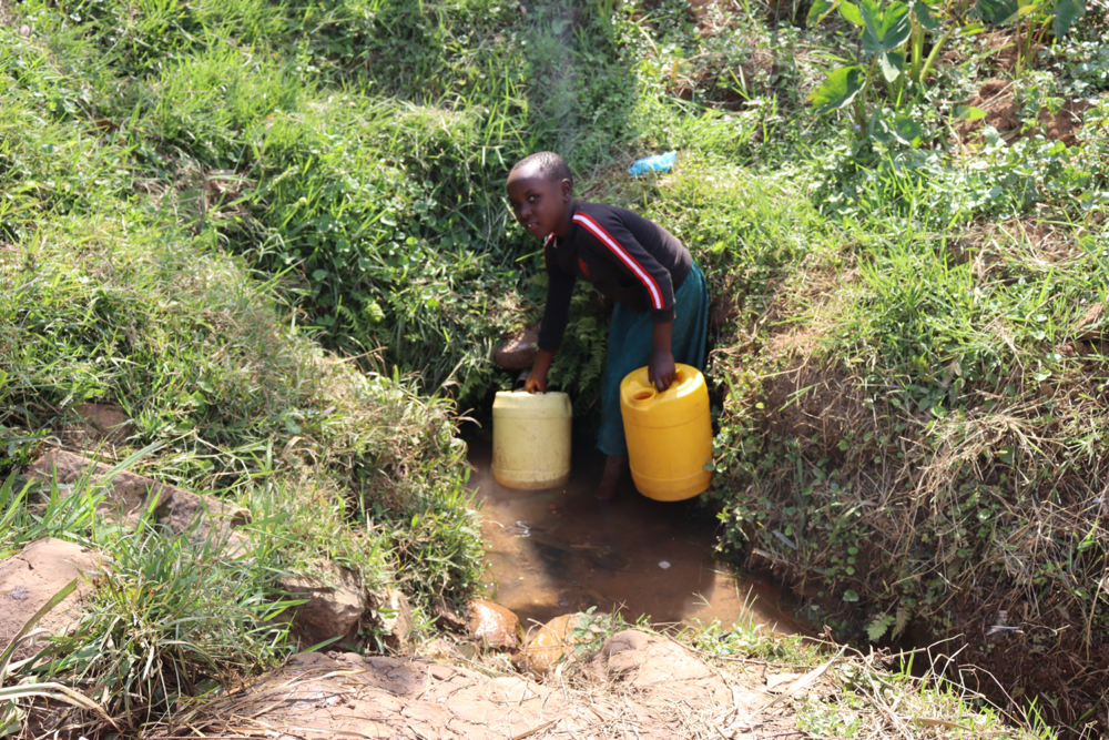 The Water Project : kenya21034-a-girl-collecting-water