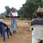 The Water Project: Lungi, Kambia, #6 Bangura St. -  Hygiene Facilitator Teaches Toilet Use And Importance