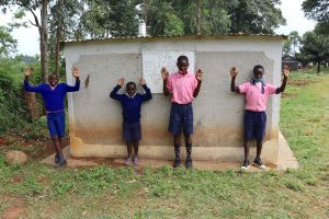 The Water Project:  Boys Cebrate Next To Their Latrines