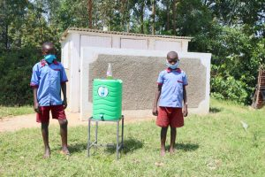 The Water Project:  Boys Posing With Their New Latrines And Handwashing Station