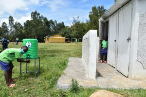 The Water Project:  Pupil Washing Hands At The Latrines
