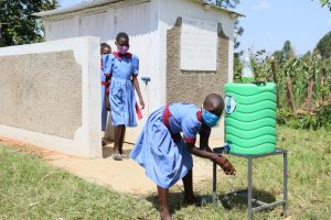 The Water Project:  Girls At Their New Latrines And Handwashing Station
