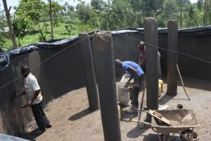 The Water Project:  Plaster Works And Pillar Setting