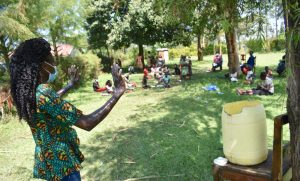The Water Project:  Trainer Elvin Demonstrates Handwashing