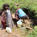 The Water Project: Mukoko Community, Zebedayo Mutsotsi Spring -  Collecting Water