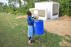 The Water Project:  Filling A Handwashing Station With Water