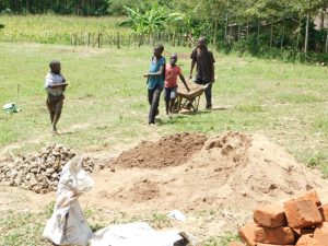 The Water Project:  Children Help Carry Materials To Construction Site