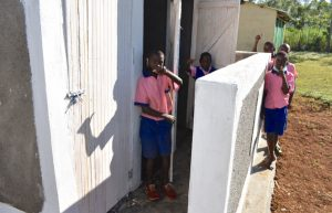 The Water Project:  Boys Give Thumbs Up For Their New Latrines