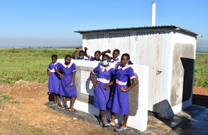 The Water Project:  Girls Pose At Their Newly Constructed Vip Latrines