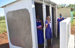 The Water Project:  Girls Give Thumbs Up For Their New Latrines