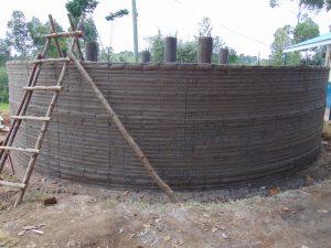 The Water Project:  Rain Tank Wall Underway
