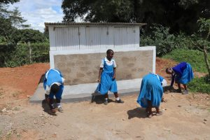 The Water Project:  Pupils Clean Rubbish Around The Latrine