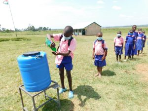 The Water Project:  Students Line Up To Wash Hands