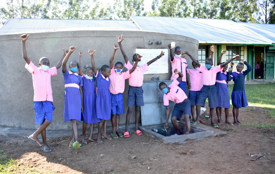 The Water Project : kenya20006-students-celebrate-the-rain-tank-1-2