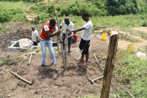 The Water Project:  Setting Up The Protective Fence