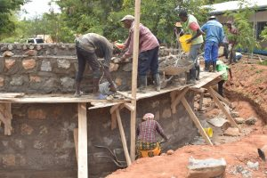 The Water Project:  Standing On Scaffolding To Build Tank Walls