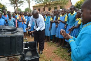 The Water Project:  Teacher Participates In Handwashing Demonstration