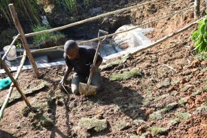 The Water Project:  Planting Grass Planted Above Catchment Area