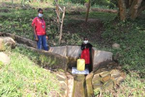 The Water Project:  Esther And Field Officer Christine At The Spring