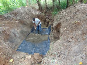 The Water Project:  Casting Of The Foundation With Concrete