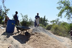 The Water Project:  Mixing Cement And Sand
