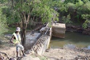 The Water Project:  Sand Dam Wall Nearly Done