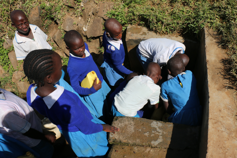 The Water Project : kenya21350-students-collecting-water-1