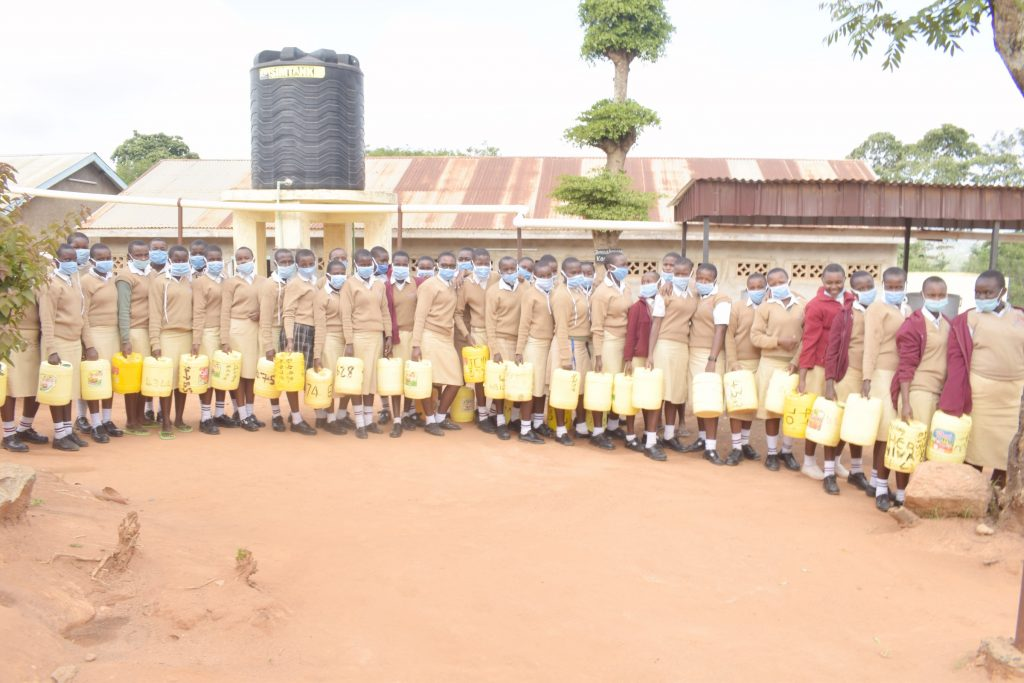 The Water Project : kenya21462-students-lined-up-with-water-containers