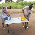 The Water Project: Lungi, Suctarr, #3 Lovell Lane -  Participants Constructing Tippy Taps