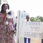 The Water Project: Lungi, Tintafor, St. Augustine Senior Secondary School -  Councilor Fatmata Akai Making Statement