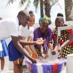 The Water Project: Lungi, Tintafor, St. Augustine Senior Secondary School -  Teachers And Students Splashing Water